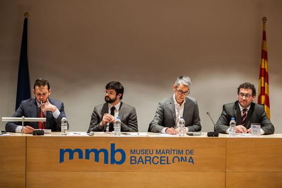 vista de frente de la mesa de inauguración, de izquierda a la derecha: Vincent Giroud, Gerard Esteve, Sergi Tudela y Xavier Duran.